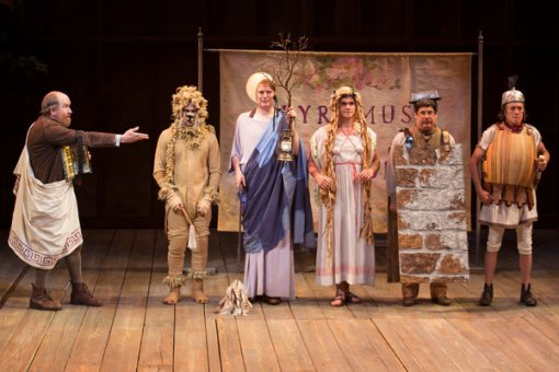 "A scene from ""A Midsummer Night's Dream"" at the Old Globe Theater with, from left, Charles Janasz, John Lavelle, Donald Carrier, Sean-Michael Wilkinson, Triney Sandoval and Miles Anderson."