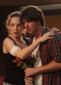 Allison Volk as Benvolio and David Hartstone as Romeo. Photo by Kevin Agustin